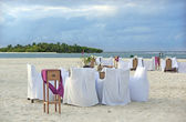 Dinner on tropical island beach — Stock Photo