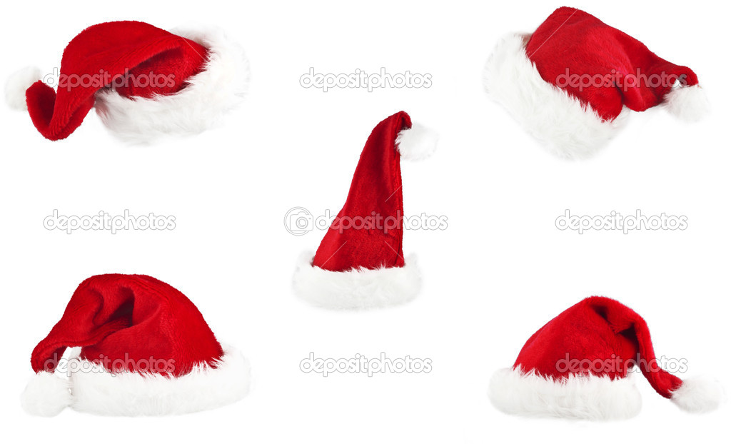 Set of red santa claus hat on white background — Stock Photo #7191736