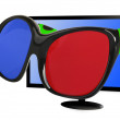 TV 3 D with 3 d glasses — Stock Photo