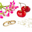 Stock Photo: Marriage concept card with gold rings