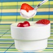 Yogurth with strawberry — Stock Photo
