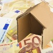 Cardboard house on the money — Stock Photo