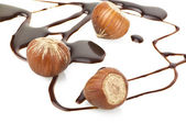 Hazelnuts and chocolate — Stock Photo