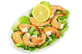 Shrimps cooked on the salsad — Stock Photo