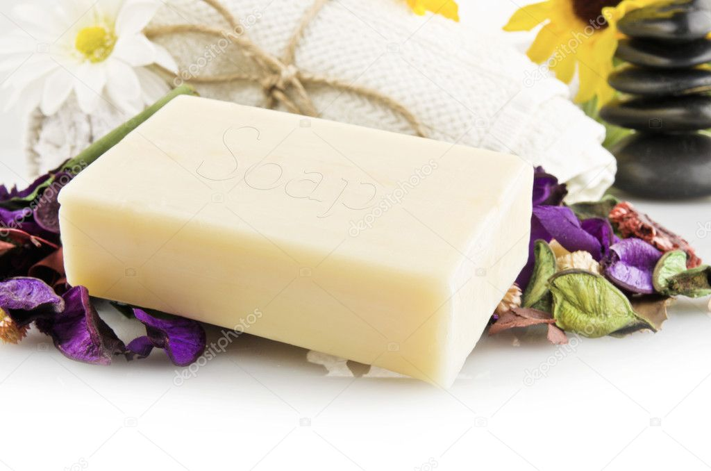 Natural soap with colored flowers — Stock Photo #7207307