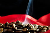 Steaming coffee beans — Stock Photo