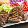 Steak with green pepper — Stock Photo