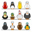 Cute birds — Stockvectorbeeld