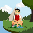 Royalty-Free Stock Vector Image: Camping boy