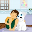 Boy and dog illustration — Stock Vector