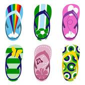 Conjunto de sandalias de playa — Vector de stock