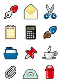 Office objects icon — Vector de stock