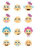 Baby faces — Stock Vector