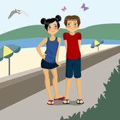 любители пляжного отдыха — Cтоковый вектор