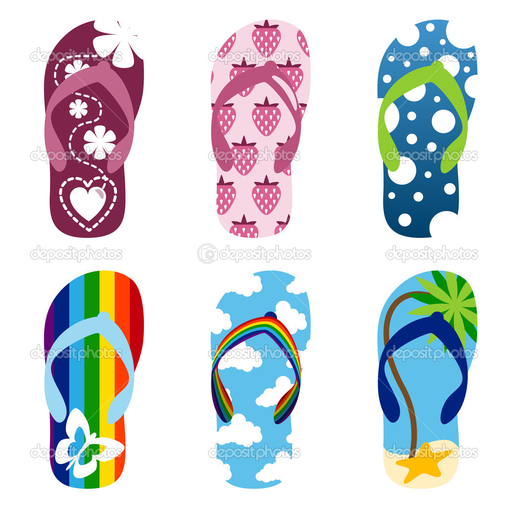 Beach Sandals Drawing Set of Beach Sandals — Vector