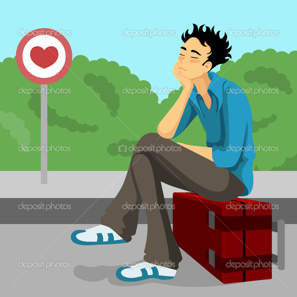 Young boy waiting love - Stock Illustration
