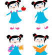 School girl with four different positions — Stock Vector