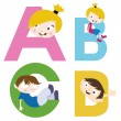 Boy and girl with alphabet — Stock Vector