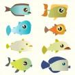 Cartoon fish set — Stock Vector #6965589