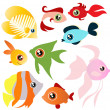 Tropical fish set — Stock Vector