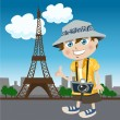 Tourist guy  eiffel tower — Stock Vector