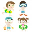 Children on a beach — Stock Vector