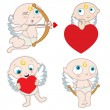 Stock Vector: Cupid with heart
