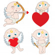 Cupid with heart - Stock Vector
