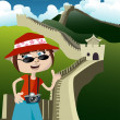 Tourist with great wall — Vecteur #6965610