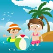 Stock Vector: Kids on the beach