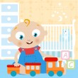 Baby playing toy — Stock Vector
