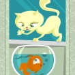 Cartoon cat hunting fish — Stock Vector