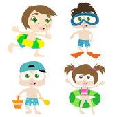 Children on a beach — Stock Vector