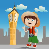 Tourist girl clock tower — Stock Vector
