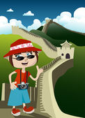 Tourist with great wall — Vector de stock