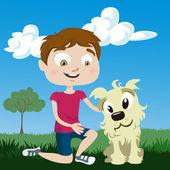 Cartoon boy with dog — Stock Vector