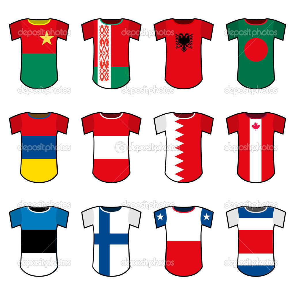 Set of national soccer uniforms — Stock Vector #6965499