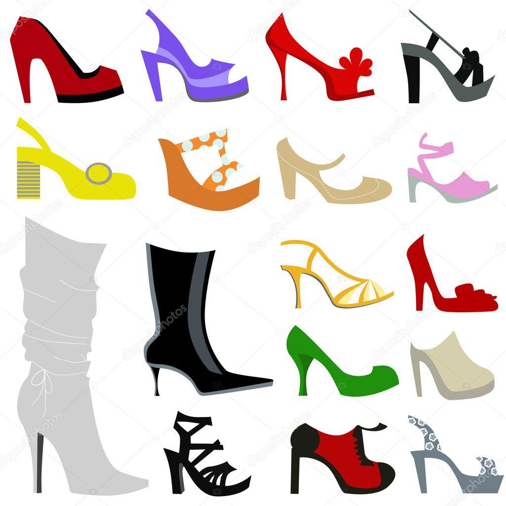Set of women shoes - Stock Illustration