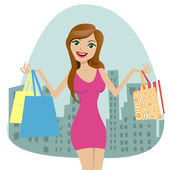 Young woman with shopping bags — Stock Vector