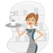 Girl serving coffee — Stock Vector