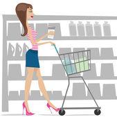 žena nakupování — Stock vektor