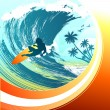 Surfing background - Stock Vector