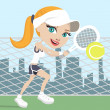 Girl playing tennis - Stock Vector