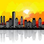 La ciudad y el amanecer — Vector de stock