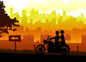 Couple travel with motorcycle — Stock Vector