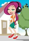 Chica caminando con música — Vector de stock