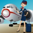 Airline hostess with airplane — Stock Vector
