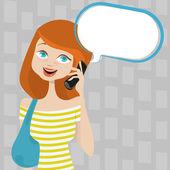 Woman talking on phone — Stock Vector