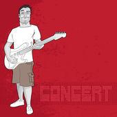 Kytarista a koncertu grafické — Stock vektor