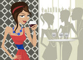 Girl drinking wine — Stock Vector